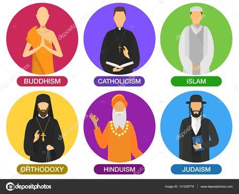Iconos de los ministros de la religión — Vector de stock ...