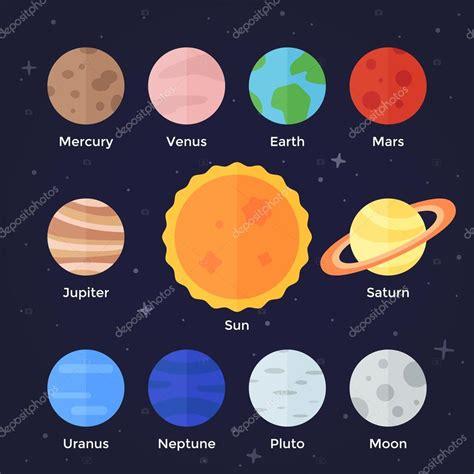 Iconos de planetas del sistema solar — Vector de stock ...
