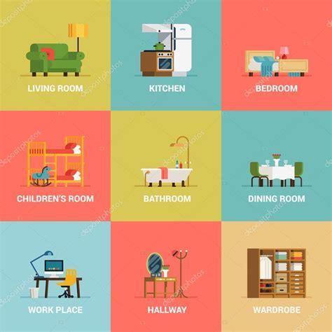 iconos de tipos de diseño de interiores sala — Vector de ...