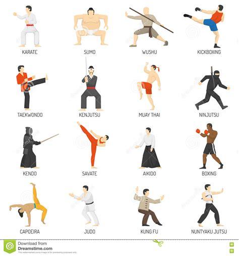 iconos-planos-decorativos-de-los-artes-marciales-fijados ...