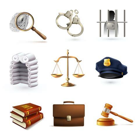Iconos realistas de la justicia | Descargar Vectores Premium