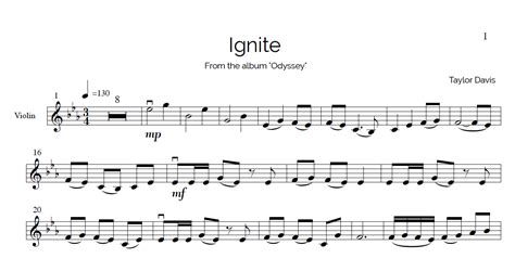 Ignite – VIOLIN Sheet Music with Play Along Piano ...