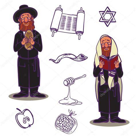 Igreja do judaísmo tradicional símbolos conjunto de ícones ...