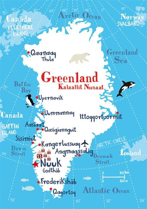 Illustrated Map of Greenland | Arctic/Alaska | Pinterest ...