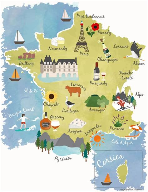 Illustrated map showing the main tourist Regions of France ...