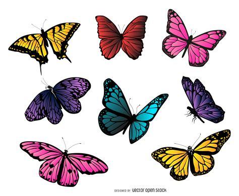 Ilustração coleção de borboletas coloridas - Baixar Vector