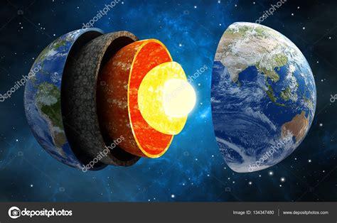 Ilustración 3D que muestra las capas de la tierra en el ...