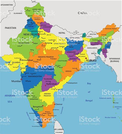 Ilustración de Colorido Mapa Político De La India ...