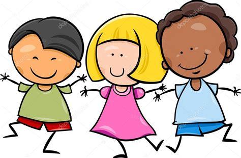 Ilustración de dibujos animados los niños multiculturales ...