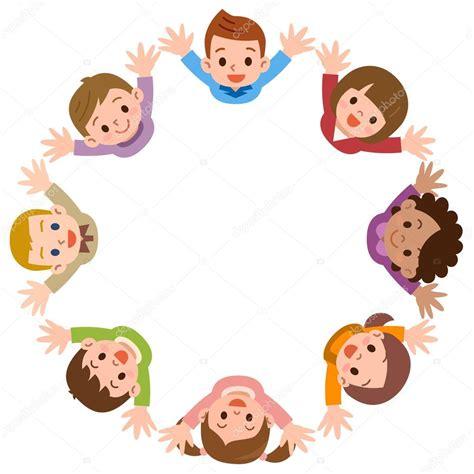 Ilustración de los niños formando un círculo — Vector de ...