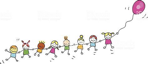 Ilustración de Niños Volando Con Globos Ilustración Dibujo ...