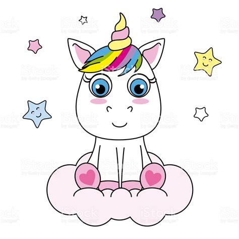 Ilustración de Unicornio De Dibujos Animados Lindo Sentado ...