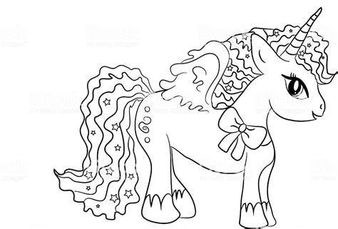 Ilustración de Unicornio Para Colorear Página Para Niños y ...