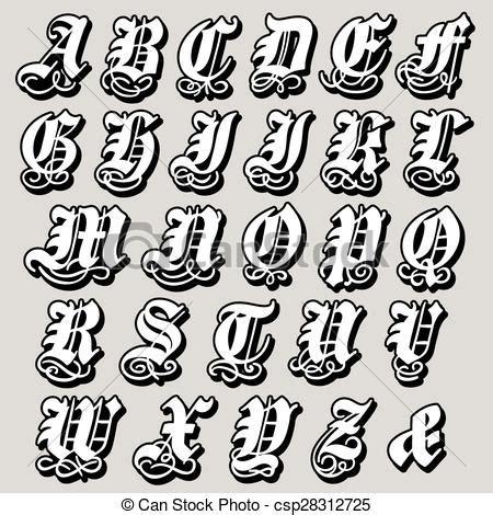 Ilustraciones de Vectores de alfabeto, gótico, completo ...