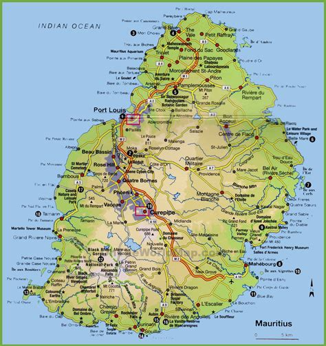 Image Gallery mauritius map