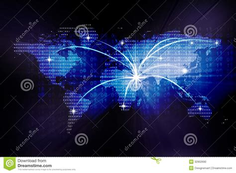 Image Of A Digital World Map Stock Photo   Image: 32902690