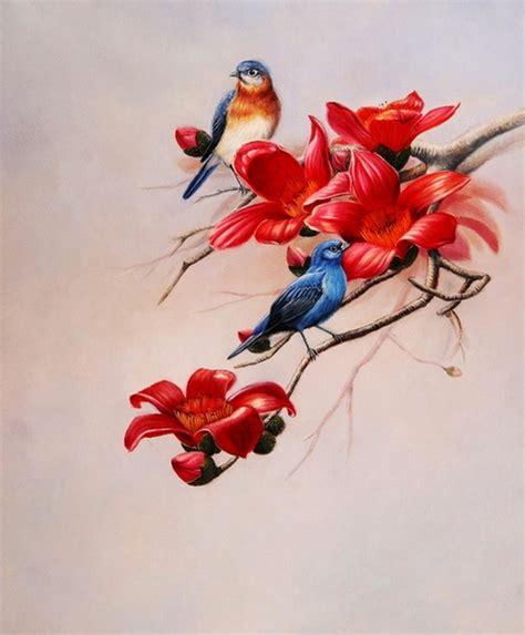 Imágenes Arte Pinturas: Pajaros y Flores