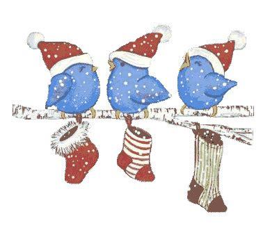 Imágenes de pajaritos navideños con movimiento.