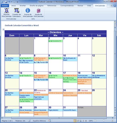 Importar Outlook Calendar a Excel y Word