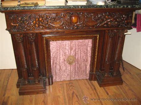 impresionante chimenea en madera tallada y repi - Comprar ...