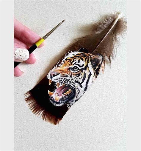 Impresionantes pinturas que se pueden hacer sobre plumas ...