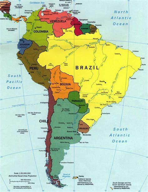 Imprimir Mapas fisico y politico de Sudamérica | Universo Guia