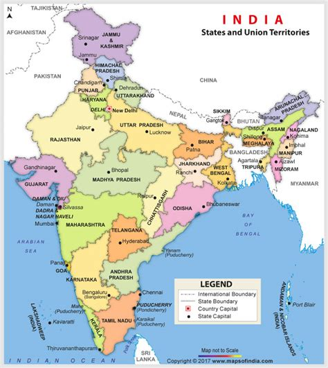 India Map With States Name