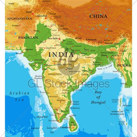 India Relief Map · GL Stock Images