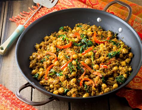 Indian Quinoa and Chickpea Stir Fry   eat healthy, eat happy