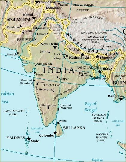 Indian Subcontinent Map - World Atlas