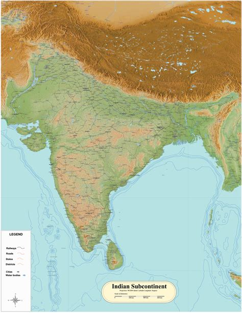 Indian subcontinent wall map