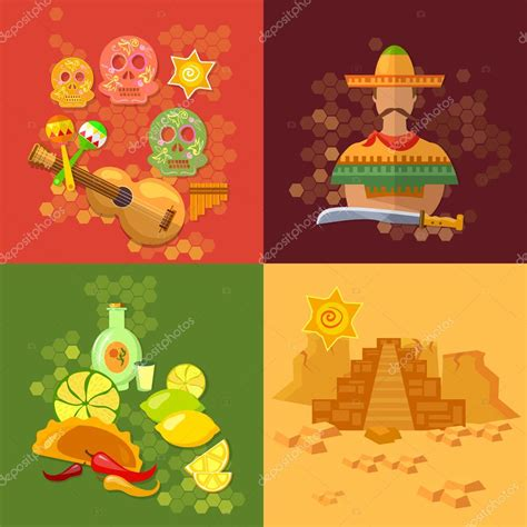 Infografia de la cultura mexicana | Set de México cultura ...