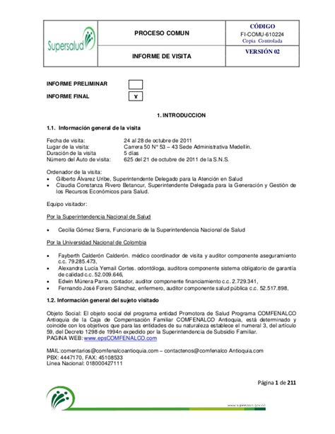 Informe final comfenalco antioquia marzo 2012
