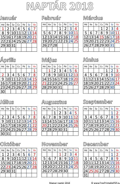 Ingyenes naptár nyomtatás 2018 | Szabad fájlok PDF nyomtatás