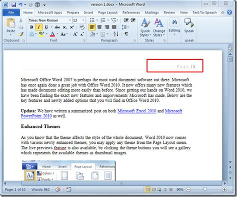 Insert Page Numbers In Word 2010 Document