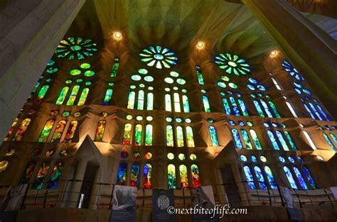 Inside La Sagrada Familia Basilica in Barcelona.