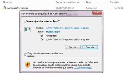 Instalación de WinSCP (versión 5.75)