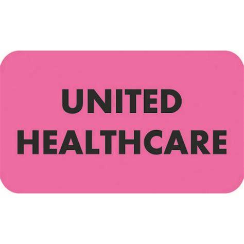 Insurance Labels, UNITED HEALTHCARE - Fl Pink, 1-1/2