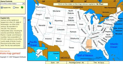 Interactive map of United States Capitals of United States ...