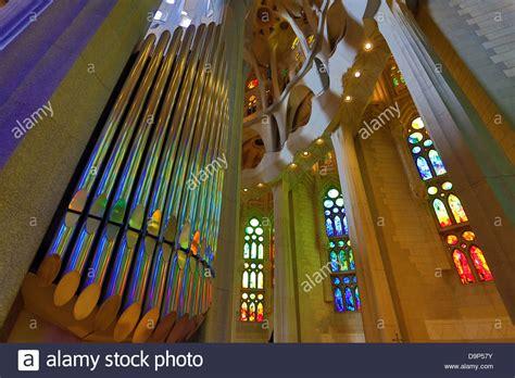 Interior and stained glass windows of the Basilica de la ...