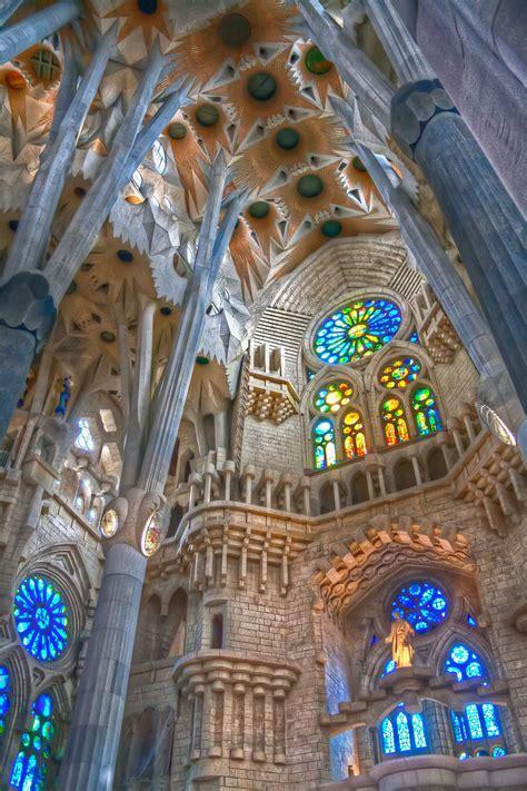 interior of sagrada familia in barcelona | HDR creme