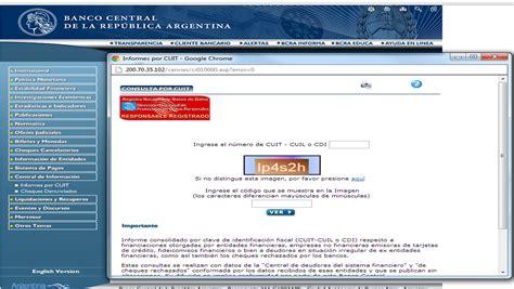 Internet - Central de deudores del sistema financiero