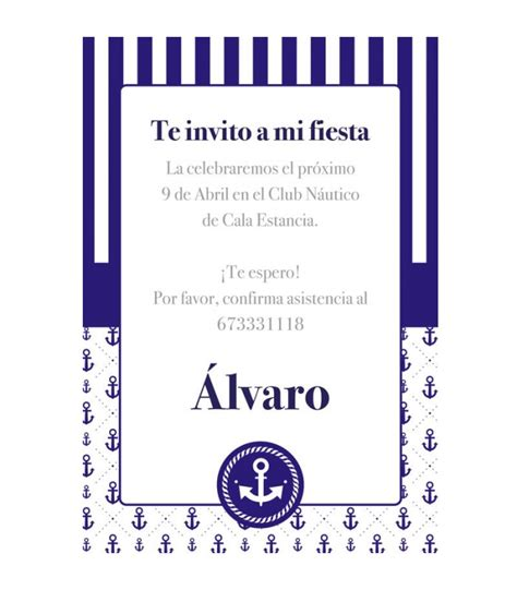 Invitación gratuita Marinero| Decoración fiestas ...