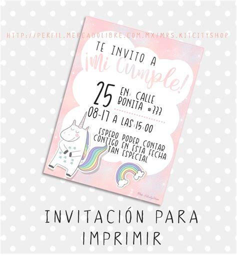 Invitaciones De Cumpleaños Para Imprimir De Unicornio ...