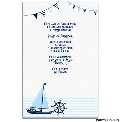 Invitaciones de Mar Con Barco para Nino - Invitaciones de ...