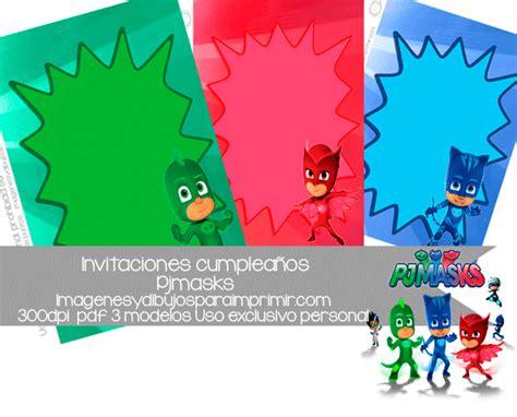 Invitaciones Pj masks de cumpleaños para imprimir
