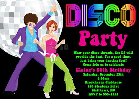 Invitation fête Disco 70 s 80 s 90 s Disco Dance Party