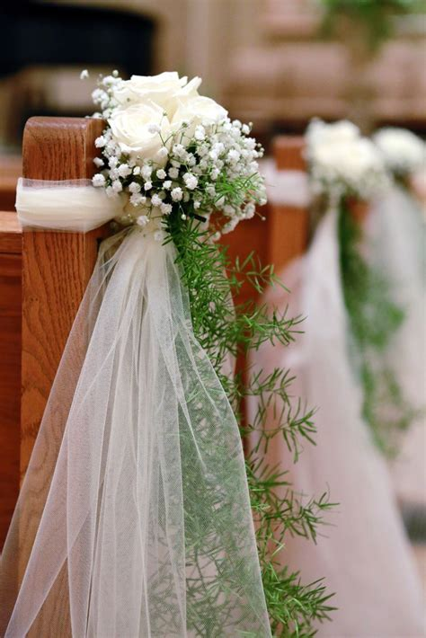 Ivory Rose and Baby's Breath Ceremony Aisle Decor | Two ...