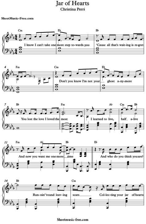 Jar Of Hearts Sheet Music Christina Perri - Sheet Music Free