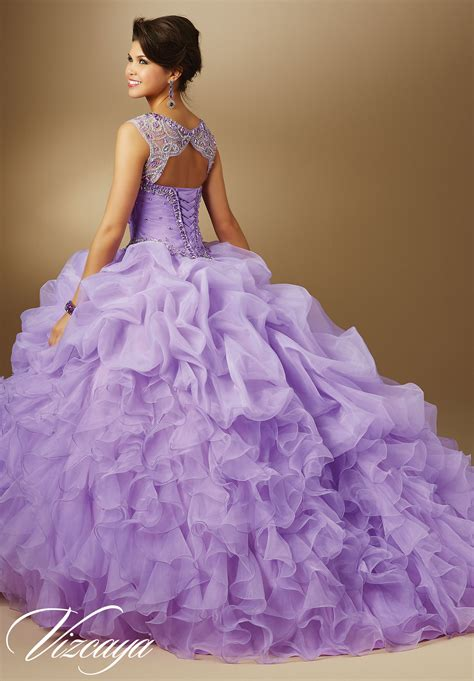 Jeweled Beading on Organza Quinceanera Dress | Style 89048 ...